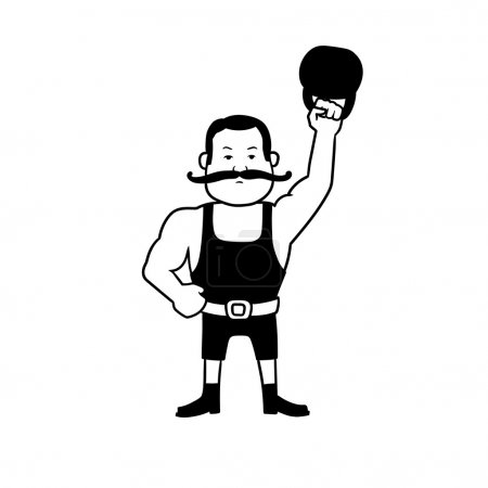 Illustration for This is the illustration of an old-style strongman - Royalty Free Image