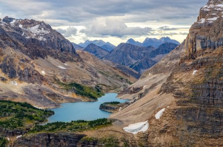 Wild landscape mountain range and lake view, Alberta, Canada