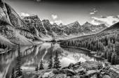 Monochrome filtered scenic view of Moraine lake, Rocky mountains