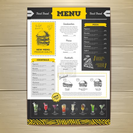 Vintage chalk drawing fast food menu design. Sandwich sketch