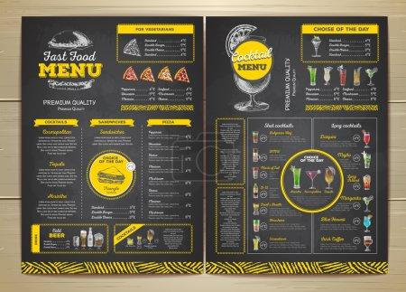 Illustration pour Vintage dessin à la craie conception de menu de restauration rapide. Menu cocktail - image libre de droit
