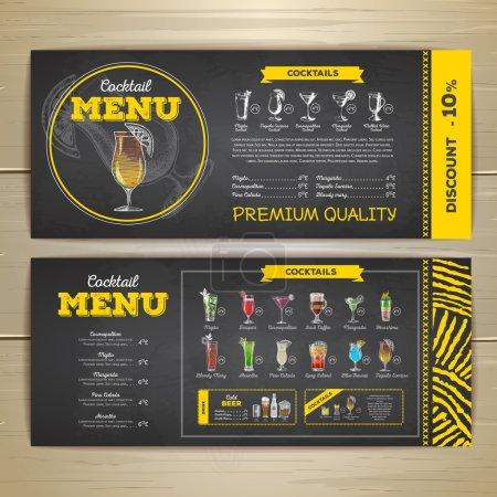 Watercolor cocktails menu design