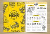 Vintage fast food menu design Sandwich sketch