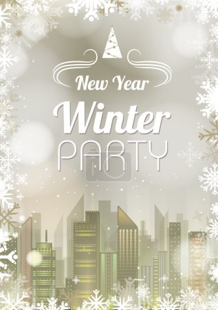 Illustration for New Year poster. Abstract holiday Christmas golden light backgroung - Royalty Free Image