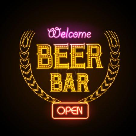 Illustration pour Un néon. Bar à bière - image libre de droit