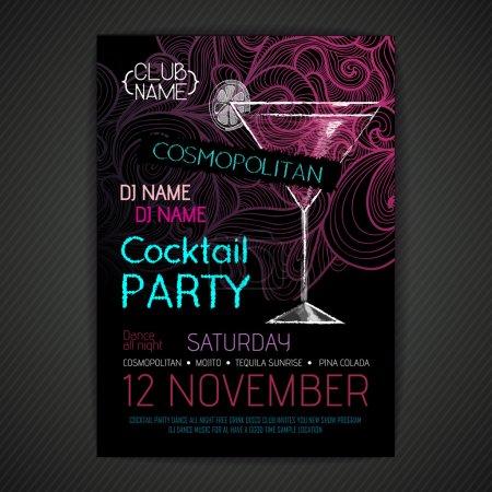 Illustration pour Affiche cocktail disco - image libre de droit