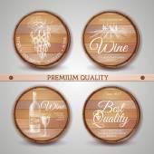 Set of wooden casks with wine label