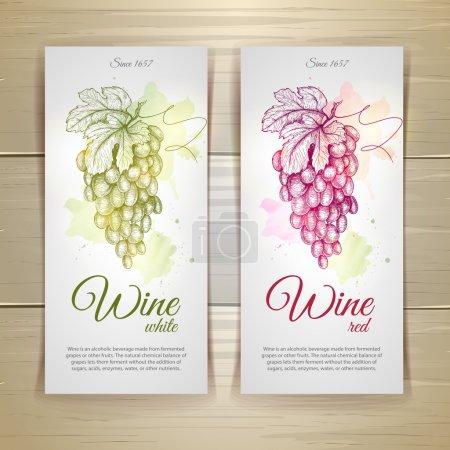 Illustration pour Ensemble d'étiquettes de vin. Croquis des raisins - image libre de droit