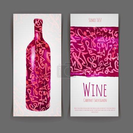 Illustration pour Ensemble d'étiquettes de vin. Arrière plan aquarelle artistique - image libre de droit