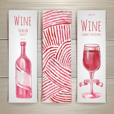 Set of art wine banners and labels design