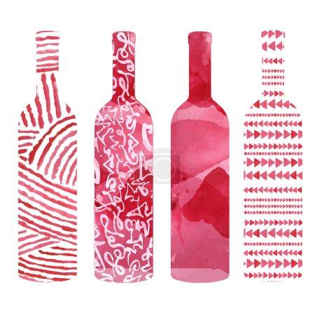 Illustration pour Ensemble d'art aquarelle bouteilles de vin - image libre de droit