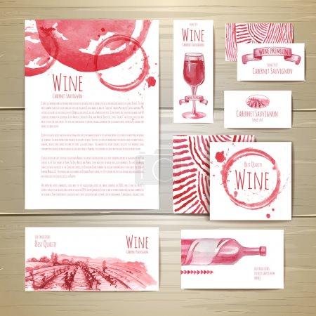 Illustration pour Aquarelle Conception de concept de vin. Identité d'entreprise - image libre de droit