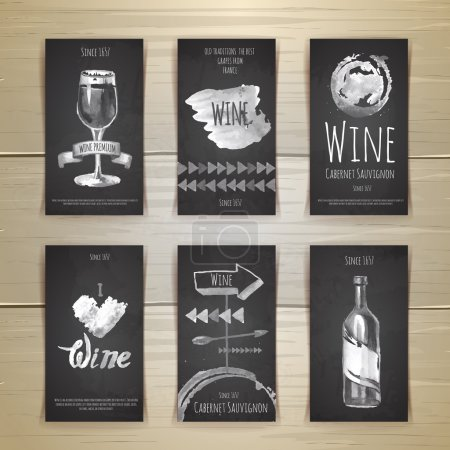 Set of art wine cards and labels design. Chalk drawing