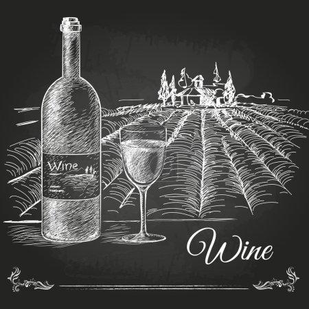 Illustration pour Craie dessinée à la main dessin fond de vin - image libre de droit