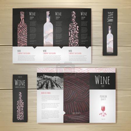 Illustration pour Aquarelle Conception de concept de vin. Identité d'entreprise. Modèle de document - image libre de droit