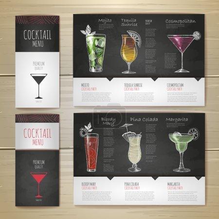 Illustration pour Aquarelle Cocktail concept design. Identité d'entreprise. Modèle de document - image libre de droit