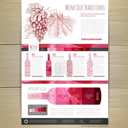 Watercolor Wine concept design. Corporate identity. Wed site design