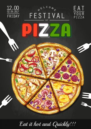 Illustration pour Italiano Pizza affiche fond - image libre de droit
