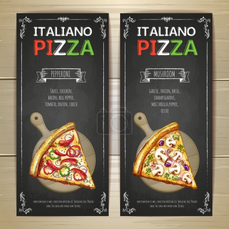 Illustration pour Ensemble de bannières de menu pizza - image libre de droit