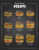 Satz von Vintage-Kreide Zeichnung Sandwich-Skizze. Fast-Food-Menü