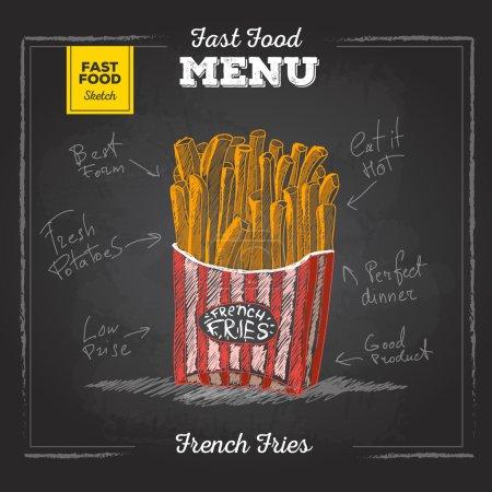 Illustration pour Craie vintage dessin menu de restauration rapide. Croquis de frites - image libre de droit