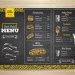 Vintage chalk drawing fast food menu. Sandwich ske...