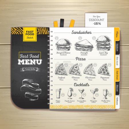 Photo pour Craie vintage dessin menu de restauration rapide. Sandwich sketch image de marque - image libre de droit