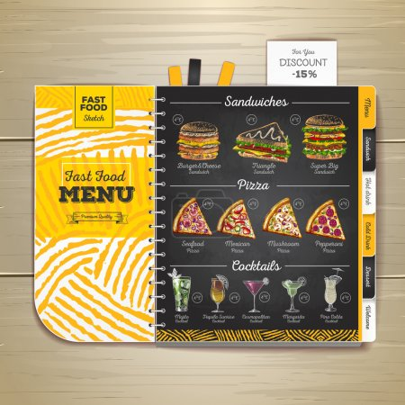 Illustration for Vintage chalk drawing fast food menu. Sandwich sketch corporate identity - Royalty Free Image
