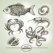 Hand drawing sketch set of seafood Vector illustration