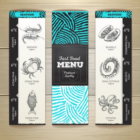 Illustration for Vintage chalk drawing seafood menu design. - Royalty Free Image