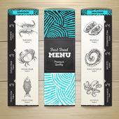 """Постер, картина, фотообои """"Винтаж мелом рисунок дизайн меню морепродукты"""""""