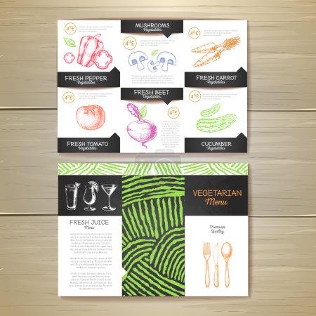 Illustration pour Craie vintage dessin végétarien menu design. Identité d'entreprise - image libre de droit