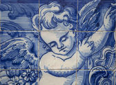 Detail of an angel on a blue tile in Portugal
