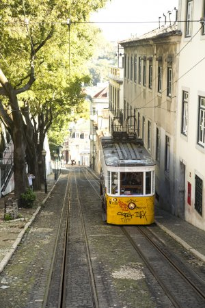 Yellow tramway in Porto, Portugal