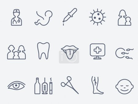 Medical and health care icons, thin line design...