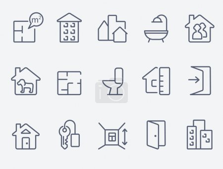 Illustration for Real estate icons. Thin  lines - Royalty Free Image