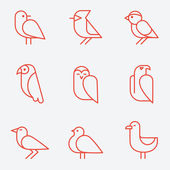 Bird icons thin line style flat design