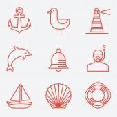 Marine icons thin line style flat design