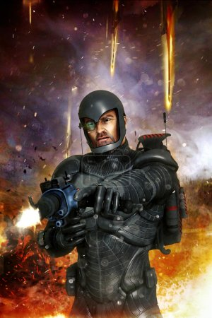 Photo for Futuristic soldier in combat 3D render science fiction illustration - Royalty Free Image