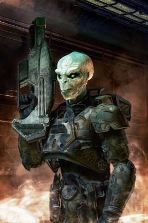 Photo for Alien soldier with armor 3D render science fiction illustration - Royalty Free Image