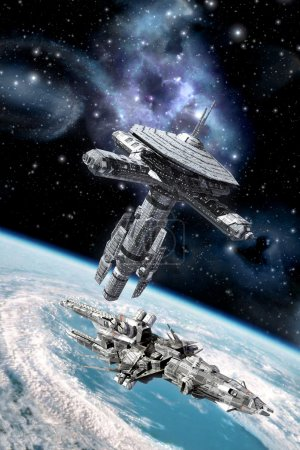 Obital space station and spaceship