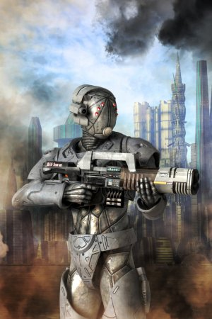 Photo for Android unit heavy trooper 3D render science fiction illustration - Royalty Free Image