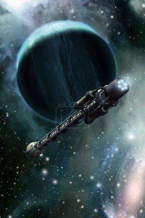 Photo pour Vaisseau spatial et planète de gaz 3d rendent l'illustration de science-fiction - image libre de droit