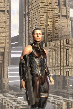 Photo for Futuristic soldier and buildings 3D render science fiction illustration - Royalty Free Image
