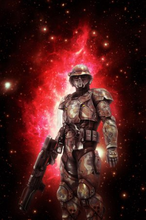 Photo for Futuristic space trooper soldier 3D render science fiction illustration - Royalty Free Image
