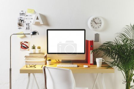 Photo for Desk of creative worker. - Royalty Free Image