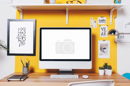 Photo for Office workplace with computer. - Royalty Free Image