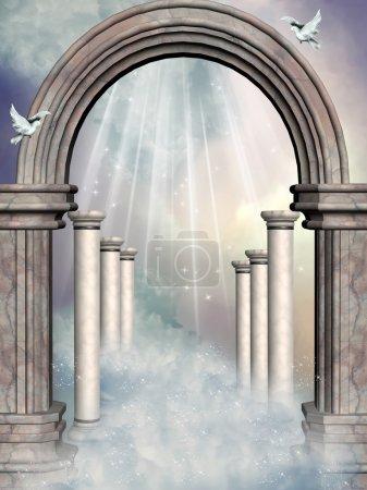 Photo pour Fée fantastique paysage dans le ciel avec le portail - image libre de droit
