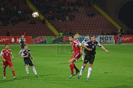 Yerevan, Armenia - October 11, 2015: Football, Armenia vs Albania, 0 - 3, European Qualifiers:  Henrikh Mkhitaryan controls the ball