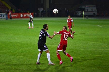 Yerevan, Armenia - October 11, 2015: Football, Armenia vs Albania, 0 - 3, European Qualifiers: Hovhannisyan vs Cikalleshi